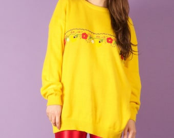 80s Vintage Bright Yellow Knit Jumper