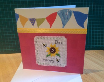 Completed celebration cross stitch card