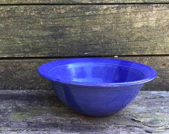 Ceramic hand thrown cobalt blue serving bowl