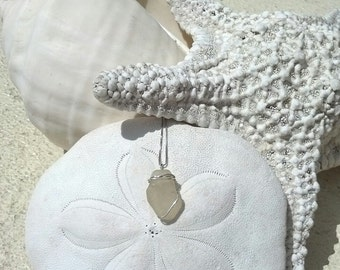Light yellow seaglass pendant hand wrapped in sterling silver wire