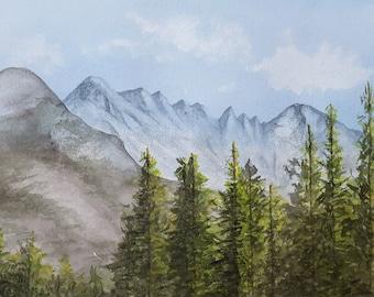 Original Watercolor Landscape Painting - Mountains, Colorado Rockies