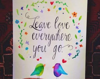 Heart Trails Handmade Quote Painting