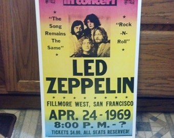 Led Zeppelin Concert Poster San Francisco 1969 Heavy Cardstock Poster 14 x 22
