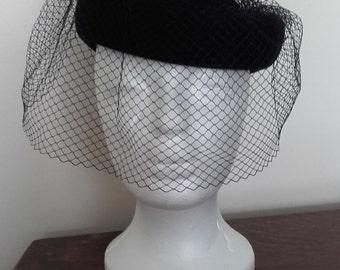 Hat, black, vintage, 1940's style