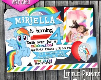 My Little Pony Invitations - Rainbow Dash Invitations - My Little Pony Party - Rainbow Dash Birthday Party - Pony Birthday - MLP Invites