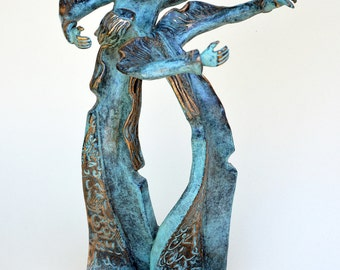 The Dance - Solid Bronze Sculpture - Statue of a Dancing Couple