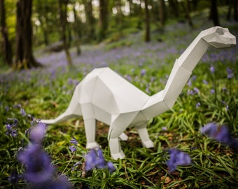 Brontosaurus Dino,  Papercraft Template, DIY Paper Pet Bronto Dinosaur. Printable pdf. Boys gift.