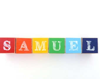 Personalised Wooden Blocks - Baby Name Blocks - Rainbow