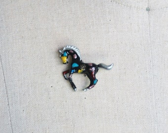 Hand Painted Playing Foal Pin
