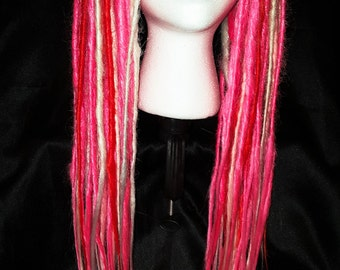 "pair of 25 in synthetic dread falls, extensions, dreads long, pink, ""a pink dream"""