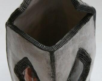 Raku Reduction Firing Slab Jar