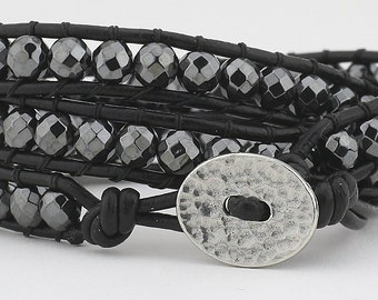Bracelet, Triple wrap bracelet, triple, Leather wrap, hematite beads, leather bracelet, wrap, women's bracelet