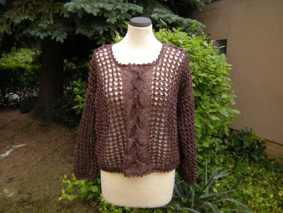Braid - / hole pattern sweater - Brown mottled, Gr. 38-42