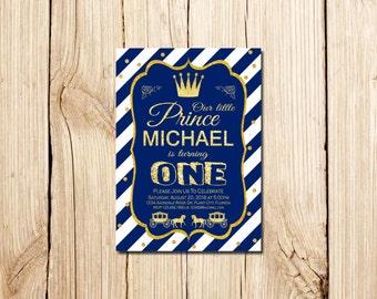 Little Prince Birthday Invitation, Little Prince Birthday, Boys Party Invitation, Boy Birthday Invitation, Blue & Gold Birthday