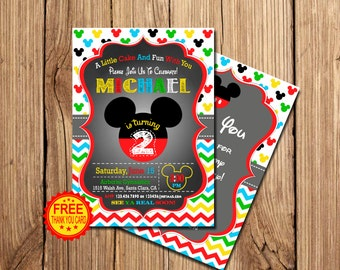 Mickey Mouse Birthday Invitation, Mickey Mouse Invitation, 2nd Birthday Invitation,  Mickey Birthday Invitation, Free Thank You Card