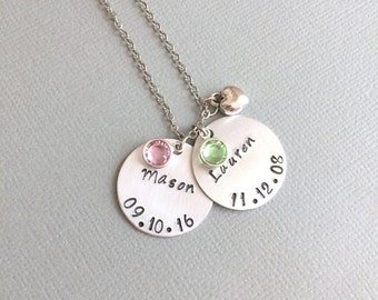 Personalised Mother Necklace, Mother Gift, Date Necklace, Two Name, Disc Necklace, Heart Charm, Birthstone Necklace, Baby Shower Gift