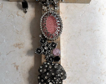 Jeweled Cross, Silver Wall Hanging, Pink, Marcasite
