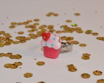 Kawaii Cupcake Birthday Sprinkles Frosting Cake Food Adjustable ring