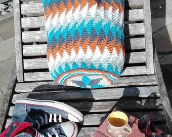 Pocket/bag crochet beautiful geometric design. Own pattern. Unikat.Perfekt for sports, yoga, shopping