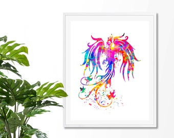 Phoenix Bird 1 Watercolor  Fine  Art Print, Poster, Wall Art, Home Decor, Kids Wall Art,Play Room Wall Art, Nursery Wall Art, Archival print