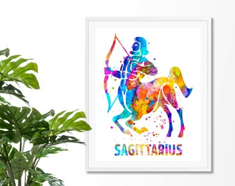 Sagittarius 3 Watercolor  Astrology Art Print, Sagittarius  Sign , Sagittarius Zodiac, Sagittarius Wall Art,  Poster, Gifts for Sagittarius