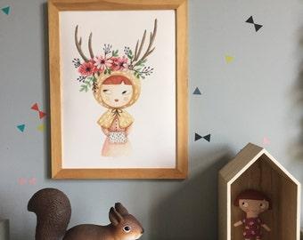 Illustration-Aquarelle-tirage d'art-affiche-décoration chambre d'enfants -couronne de fleurs-Collection Forest Dream-rose-boisé-vert-mousse
