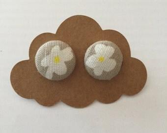 White flower fabric covered earrings
