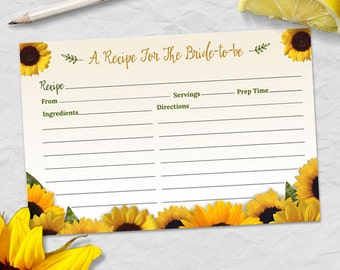 "Printable Rustic Sunflower Recipe Card, Bridal Wedding Shower, 6""x4"", JPG Instant Download"