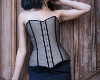 Steampunk corset - Antique gold/brown fabric and black lace overbust steampunk corset - Elegant dress - Gothic style clothing