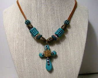 Turquoise Rose Cross western cowgirl country southwestern