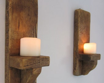 Pair of 40cm rustic reclaimed plank wood wall sconce candle holders