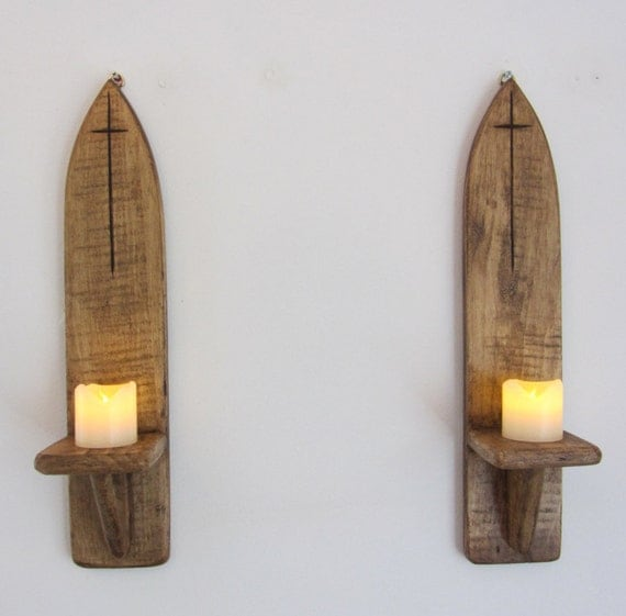 Pair of Gothic style wall sconce candle holders with carved