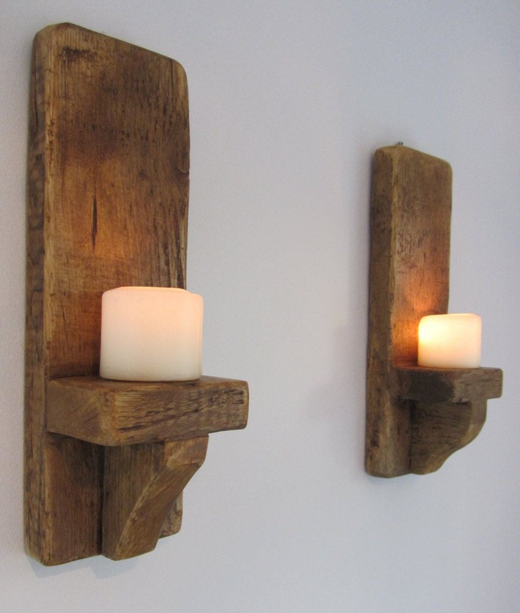 Pair of rustic reclaimed plank wood chunky wall sconce candle