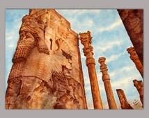 Beautiful Persepolis, 36x50cm, from Persian doors, elegant, original watercolor painting, suitable for gift, Persian art, by Shadi Jamshidi