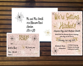 Atomic Mid Century Style Wedding Invitations
