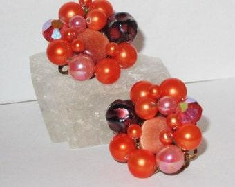 Vintage Orange Bead Cluster Clip On Earrings