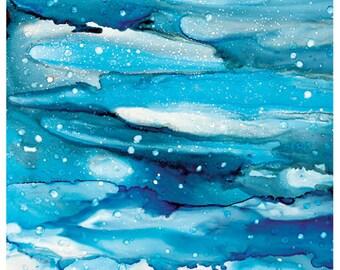 "Alcohol Ink ART PRINT, 12""x18"", Summer Storm, Landscape Art Print, Abstract Wall Art, Wall Decor"