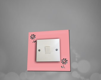 Acrylic Flower Light Switch Surround -Light Switch Plate - Light Switch Cover Available in 10 different colours.