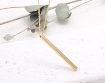 Long Vertical Bar Pendant Necklace, Long Line Stick Charm Necklace