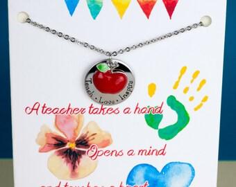 Teacher Necklace - Teach Love Inspire - Teacher Apple Necklace - with a Card - Ready to Gift  - Teacher Gift