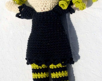 Crochet Wendy Witch, Halloween Toy, Amigurumi Stuffed Doll, Hand Made Soft Toy, Green Haired Witch with Black Dress and Sewn On Eyes