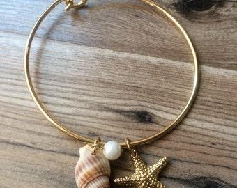 Shell and Starfish Bangle Bracelet