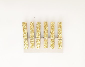 6 Large Gold Glitter Clothes Pin