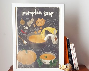 Illustrated recipe art print | Pumpkin soup | Illustrated food | Kitchen art