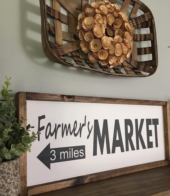 Farmers market rustic sign fixer upper style kitchen decor for Decor market reviews
