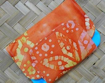 Orange Batik Zip Pocket Pouch