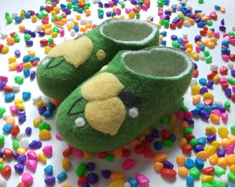 Wool slippers, made, green.