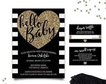 Baby Shower Invitations, Hello Baby Invitation, Black and Gold Baby Shower Invitation Set, Gold Glitter Baby Shower, Printable Invitation