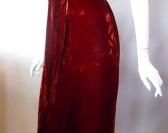 1930's Red Velvet evening gown with lace trim and open back