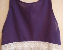 Summer batiste top with lace Women Girls Crop Top Batiste Lace Blouse